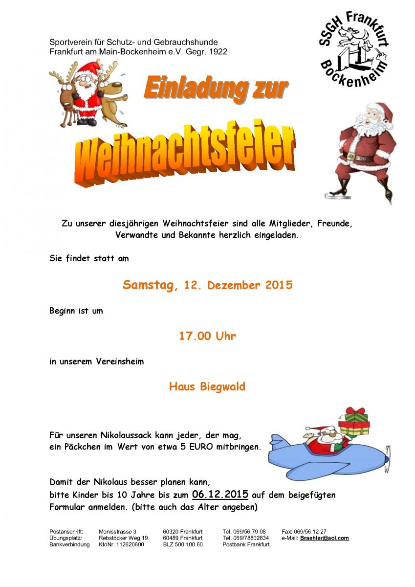 Einladung Zur Weihnachtsfeier.Einladung Zur Weihnachtsfeier Am 12 Dezember 2015 Ssgh