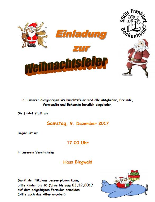 Beitrag Zur Weihnachtsfeier.Einladung Zur Weihnachtsfeier09 Dezember 2017 17 00 Uhr Ssgh